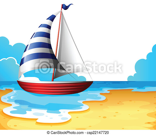 illustration of a boat at the beach on a white background vector rh canstockphoto com seashore clipart free