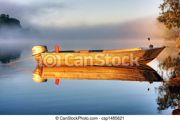A boat in mist - csp1485621