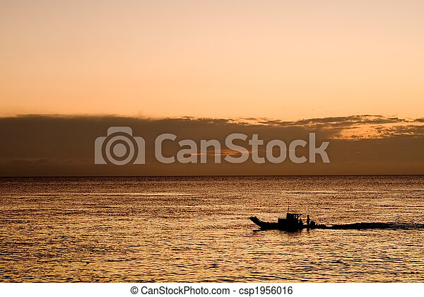 a boat in the ocean - csp1956016