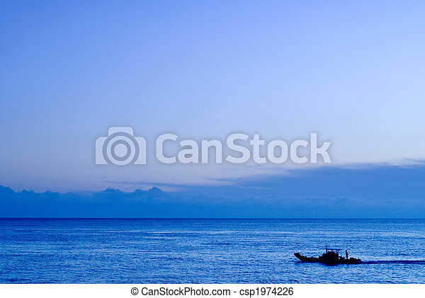 a boat in the ocean - csp1974226