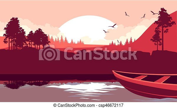 A boat sails on the river - csp46672117