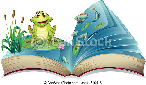A book with a story of the frog in the pond - csp14510416