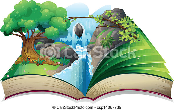 A book with an image of a forest - csp14067739