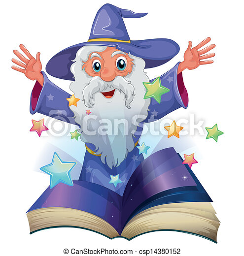 A book with an image of an old man with many stars - csp14380152