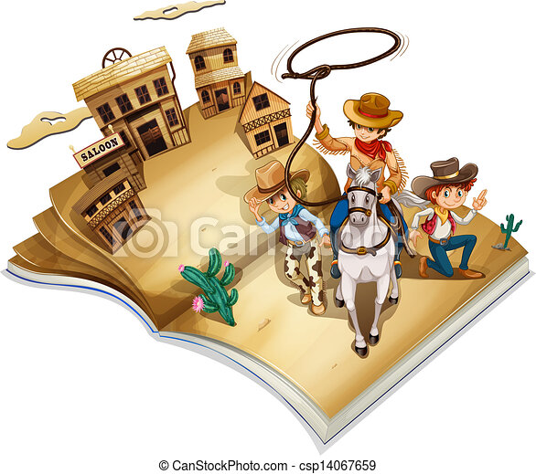 A book with an image of three cowboys - csp14067659