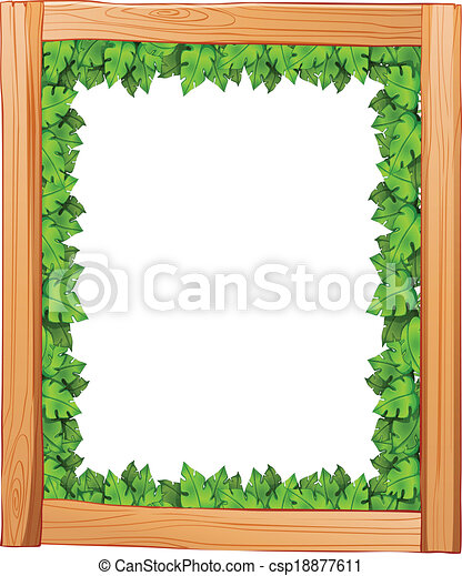 A Border Design Made Of Wood And Green Leaves