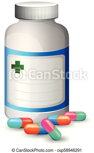 A Bottle of Colourful Capsule - csp58946291