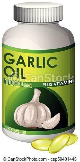 A bottle of garlic oil capsule - csp59401443