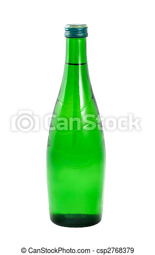 A bottle of water on a white background - csp2768379