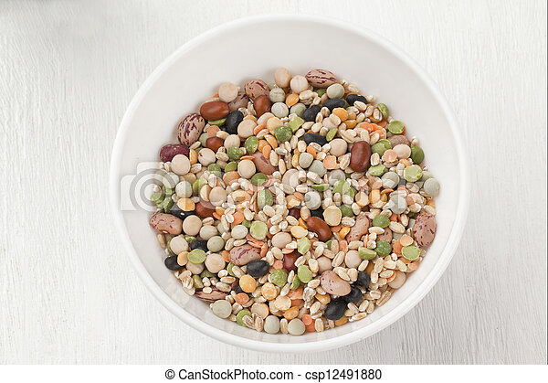 a bowl of assorted beans - csp12491880