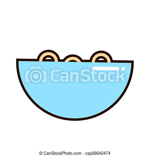 A bowl of cereal and milk on white background. Corn flakes. illustration. - csp56642474