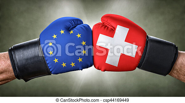 A boxing match between the European Union and Switzerland - csp44169449