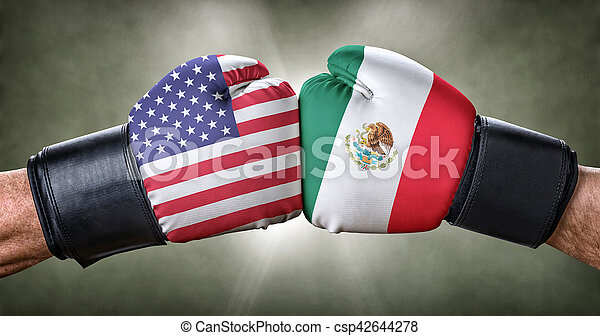 A boxing match between the USA and Mexico - csp42644278