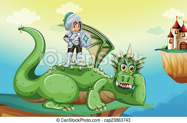 A boy above the dragon - csp23863743