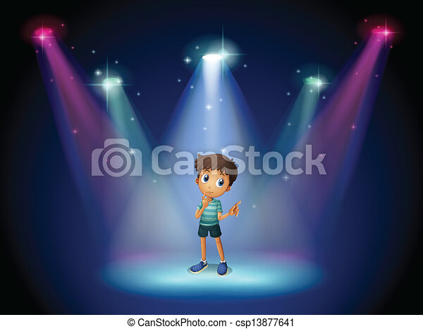 A boy acting at the stage with spotlights  - csp13877641