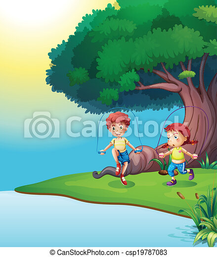 A boy and a girl playing near the giant tree - csp19787083