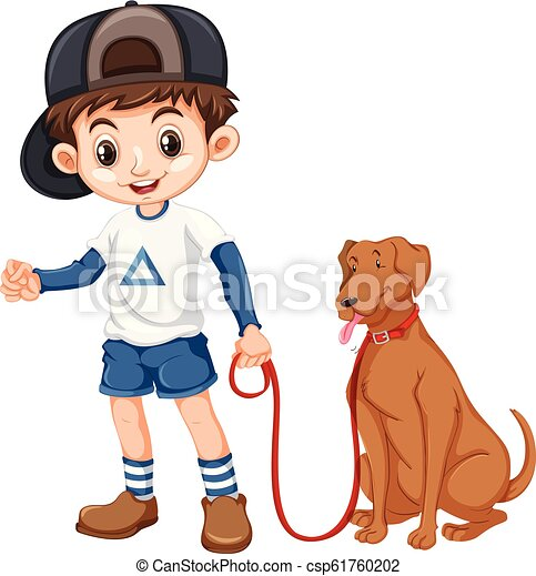 A boy and dog on white background - csp61760202