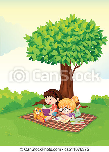 a boy and girl studying under tree	 - csp11676375