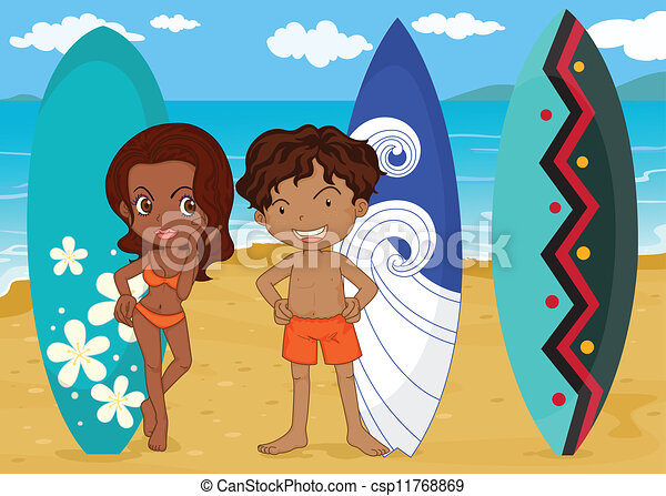 a boy and girl with surf pad - csp11768869
