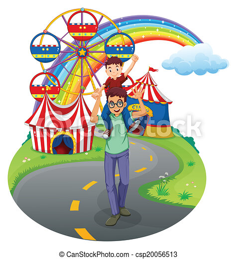 a boy and his father at the amusement park illustration of a boy rh canstockphoto com amusement park clip art border amusement park rides clipart black and white