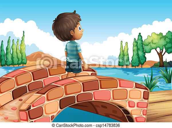 A boy at the bridge - csp14783836