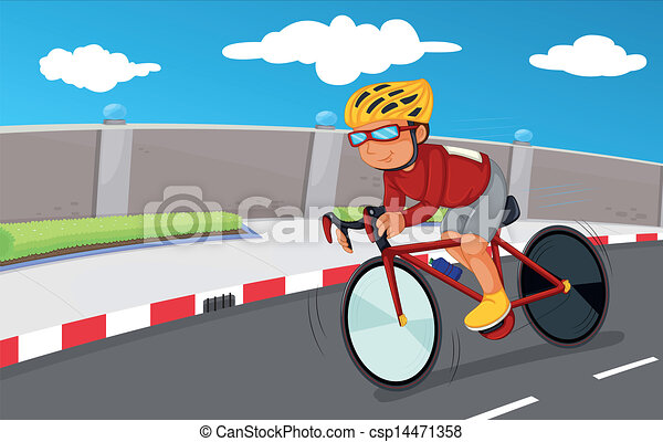 A boy biking with his safety gears - csp14471358
