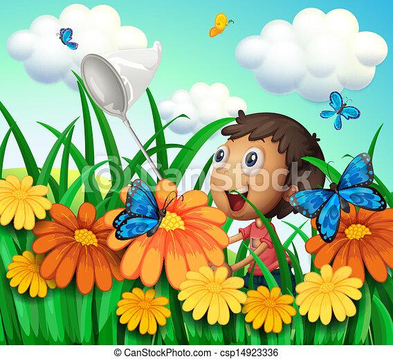 A Boy Catching Butterflies At The Flower Garden Illustration Of A