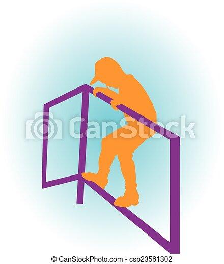 a boy climbing on the bar - csp23581302