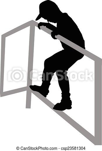 a boy climbing on the bar - csp23581304