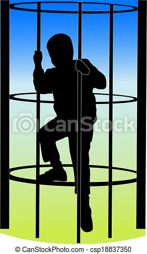 a boy climbing on the jungle gym  - csp18837350
