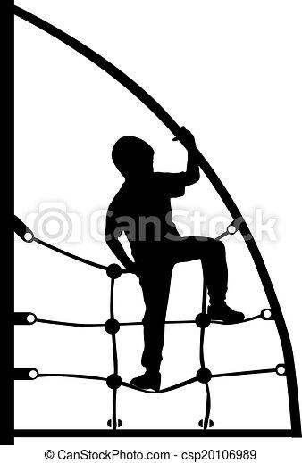 a boy climbing on the jungle gym - csp20106989