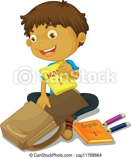a boy filling schoolbag - csp11768664