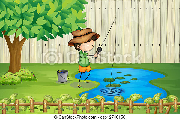 A boy fishing at the pond - csp12746156