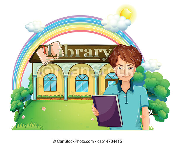 A boy holding a book standing in front of the library - csp14784415