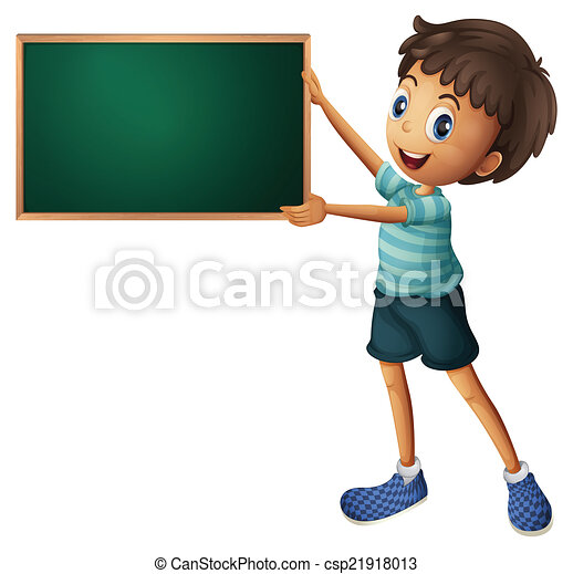 A boy holding an empty blackboard - csp21918013