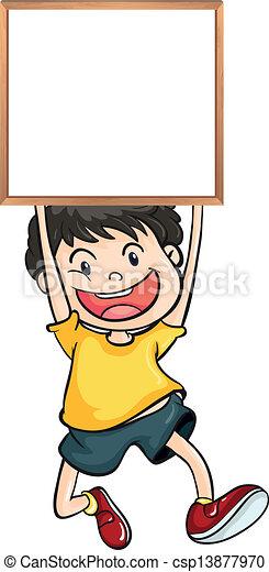 a boy holding an empty framed banner csp13877970