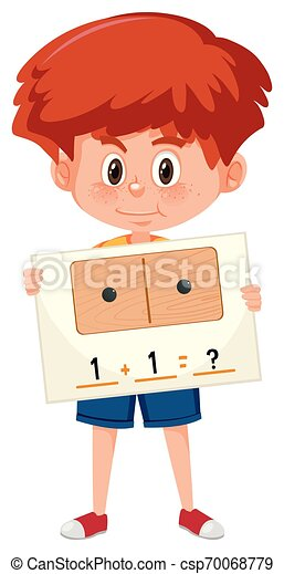 A boy holding math question card - csp70068779