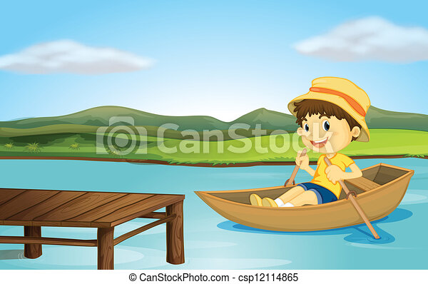 Superb A Boy In A Boat And A Wooden Bench Evergreenethics Interior Chair Design Evergreenethicsorg