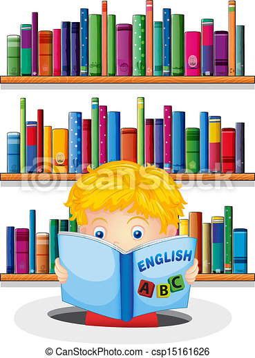 A boy in the library reading an English book - csp15161626