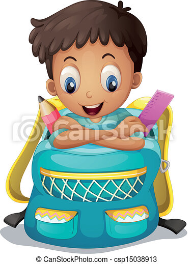 A boy inside a schoolbag - csp15038913