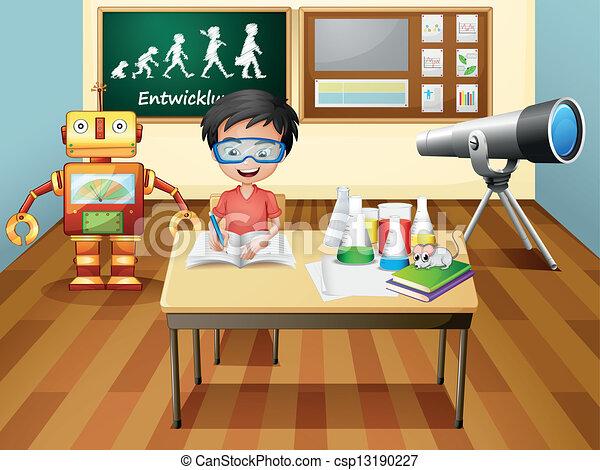 A boy inside a science laboratory - csp13190227