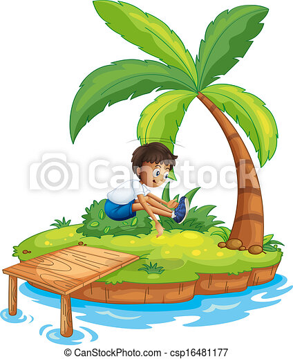 A boy jumping at the island - csp16481177