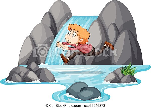 A Boy Jumping on the Rock - csp58946373