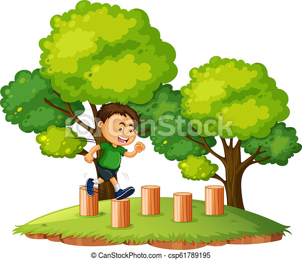 A boy jumping on the wood - csp61789195