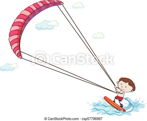A Boy Kitesurfing On White Background - csp57796987