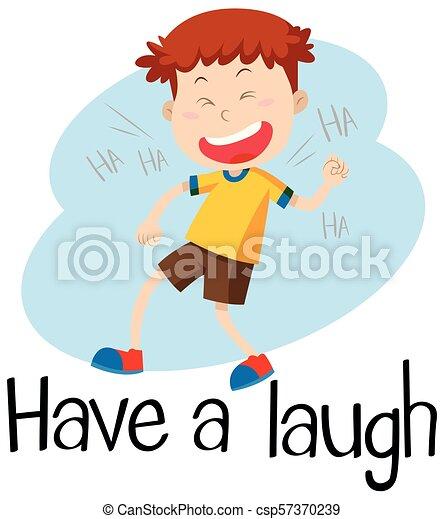 A boy laugh on White Background - csp57370239