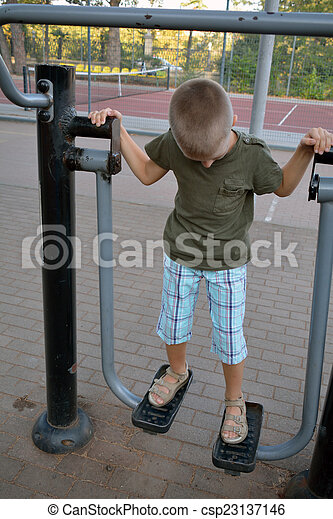A boy on the training in the park - csp23137146
