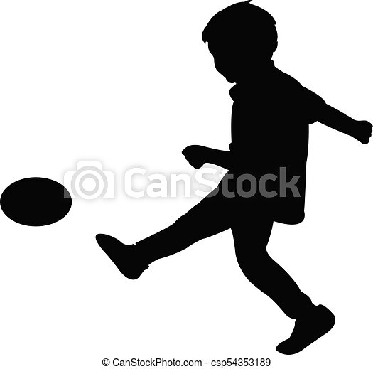 a boy playing football, silhouette - csp54353189