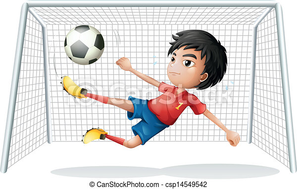 Line Art Uniform : Illustration of a boy playing soccer wearing red uniform eps