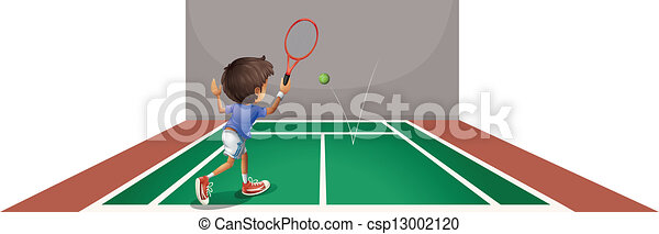 A boy playing tennis at the court - csp13002120